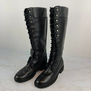 Timberland Tall Black Leather Lace Up Combat Boots
